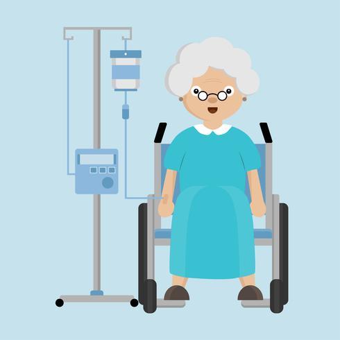 Senior femmes assises sur un fauteuil roulant avec un compte-gouttes. vecteur