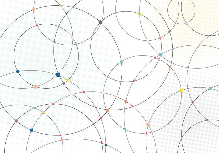 Cercles de lignes abstraites et points multicolores avec une texture demi-teinte radiale sur fond blanc. vecteur