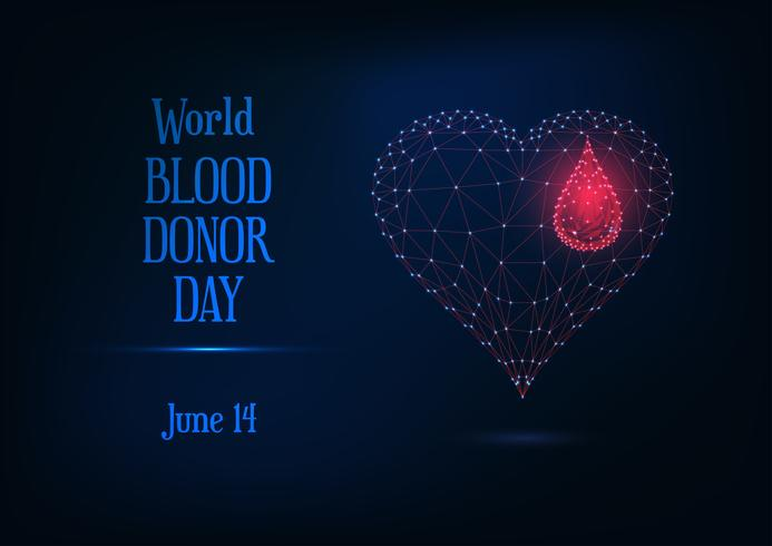 Bannière Web de la journée mondiale des donneurs de sang avec texte et symbole de cœur et de goutte de sang poly brillant rougeoyant vecteur