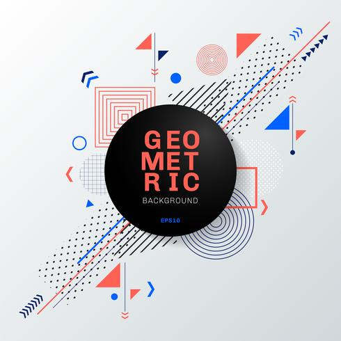 Abstrait motif géométrique coloré et arrière-plan avec une étiquette de cercle noir. Vous pouvez utiliser pour la conception moderne de la brochure, couverture, modèle, flyer, dépliant, affiche, bannière Web, etc. vecteur