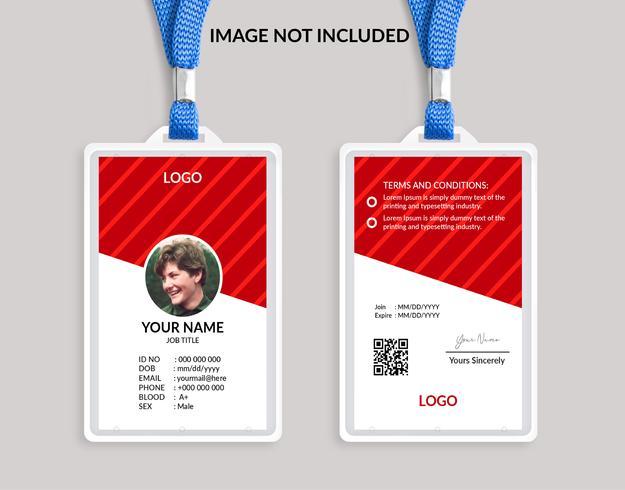 Modèle de belle carte d'identité rouge 18 vecteur