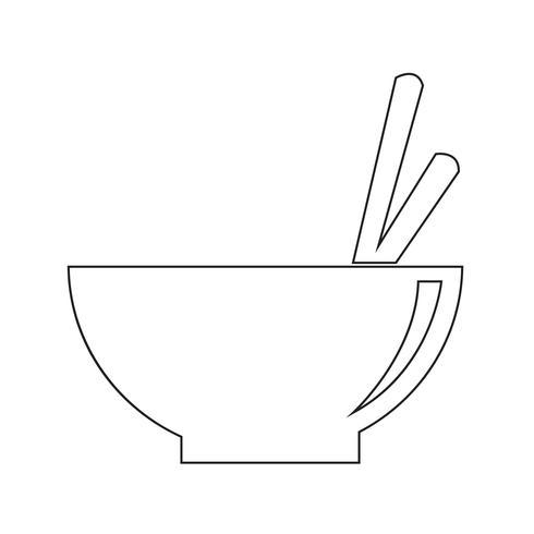 Bol de nouilles icône illustration vectorielle vecteur
