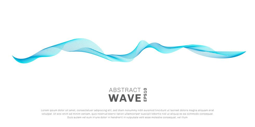 Lignes de vagues abstraites couleur bleu qui coule isolé sur fond blanc. Vous pouvez utiliser pour les éléments de conception ou séparateur dans le concept de moderne, technologie, musique, science vecteur