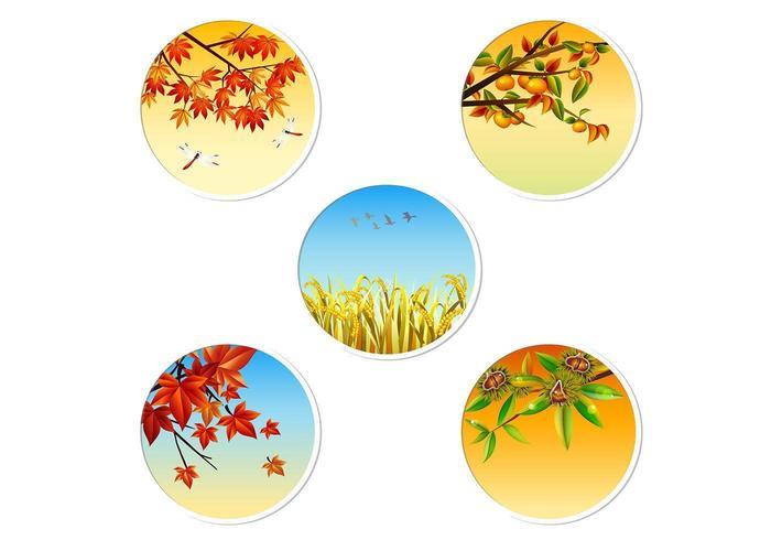 Pack vecteur badge d'automne