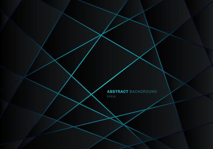 Polygone géométrique noir abstrait sur fond bleu lumière néon technologie futuriste design concept vecteur