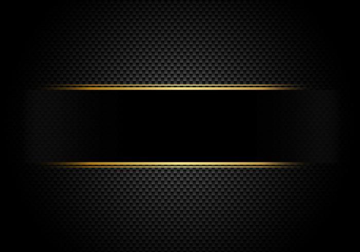 Fond en fibre de carbone et texture et éclairage avec étiquette noire et ligne dorée. Style de luxe. Papier peint matériel pour le réglage ou le service de voiture. vecteur