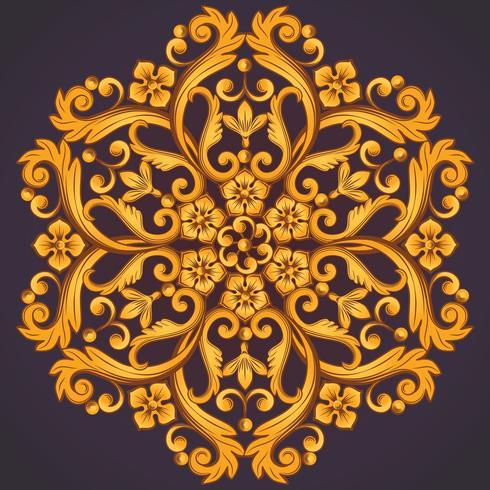 Élément ornemental rond magnifique pour la conception en couleurs orange jaune. vecteur