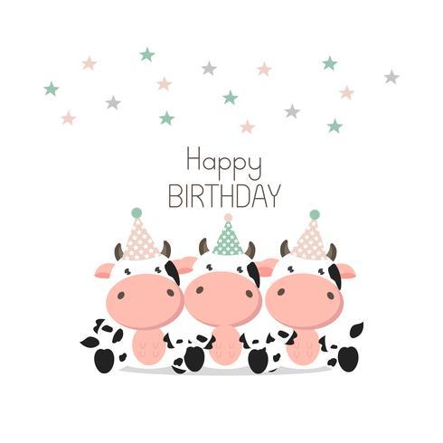 Carte De Voeux Joyeux Anniversaire Vaches Mignonnes Telecharger Vectoriel Gratuit Clipart Graphique Vecteur Dessins Et Pictogramme Gratuit
