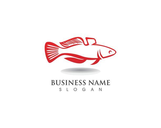Modèle de logo de poisson. symbole de vecteur du club de pêche ou en ligne