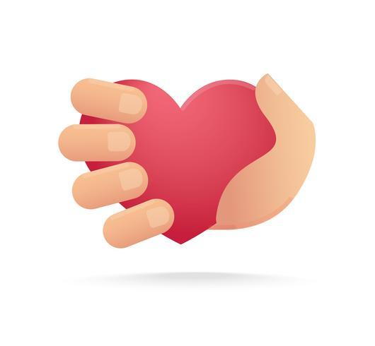 main tenant l'icône du cœur. concept de l'amour vecteur