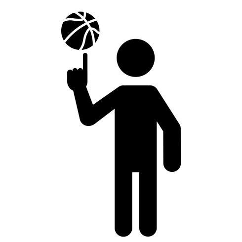 Joueur de basket-ball, balle, rotation, à, doigt vecteur