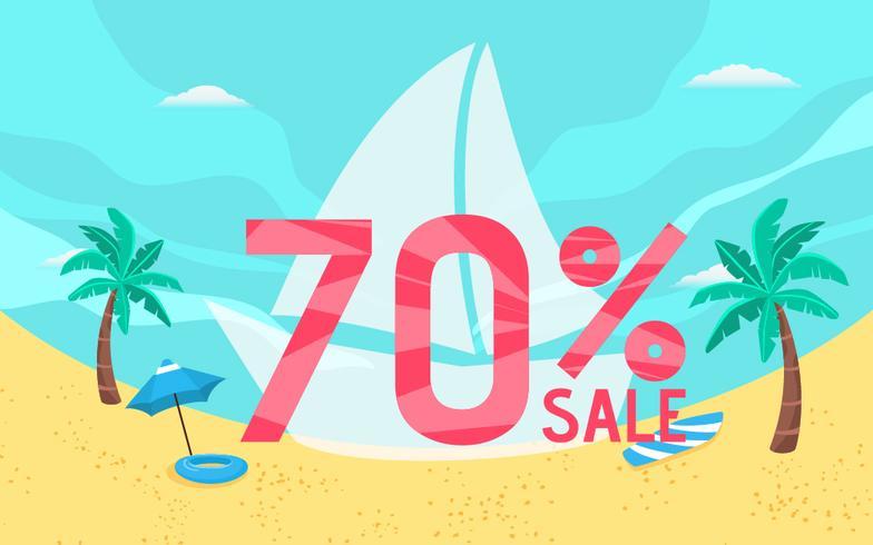 Vacances de bannière de vente d'été avec la scène de la plage. vecteur