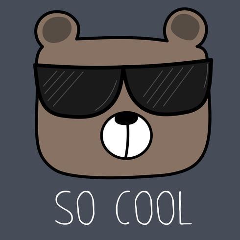 Ours cool avec illustration vectorielle de lunettes de soleil. vecteur