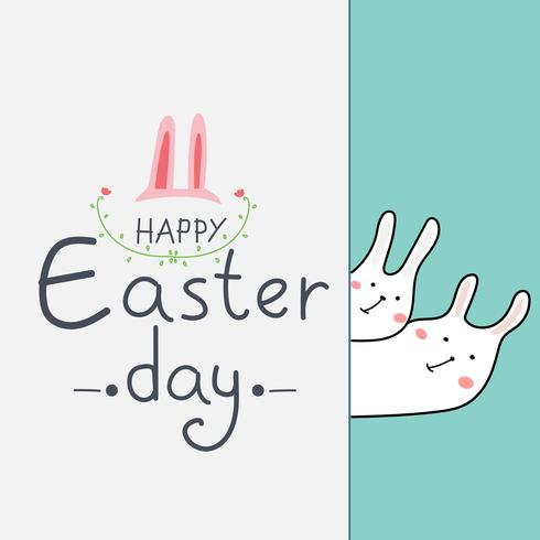 Carte de voeux joyeux jour de Pâques. La main dessinée lapin et fleur élément Design Vector Illustration.