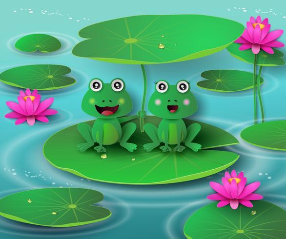 grenouille dans l'étang. vecteur