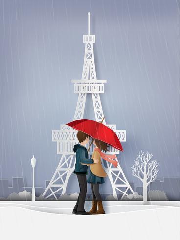 illustration de l'amour et de la saison d'hiver vecteur