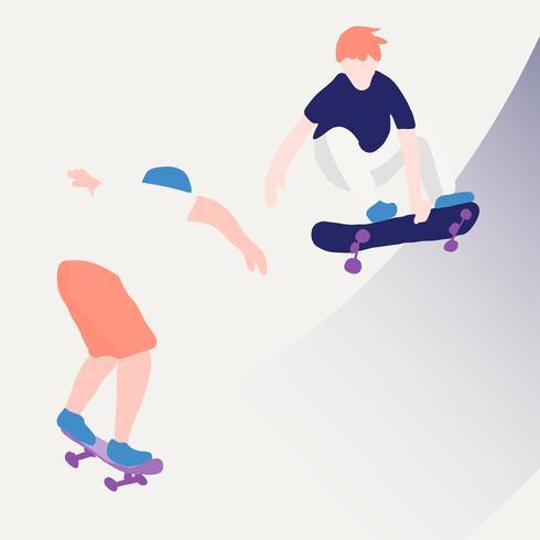 Patineur élégant en jeans et baskets. Planche à roulette. Illustration vectorielle pour une carte postale ou une affiche, impression de vêtements. Cultures de rue. vecteur