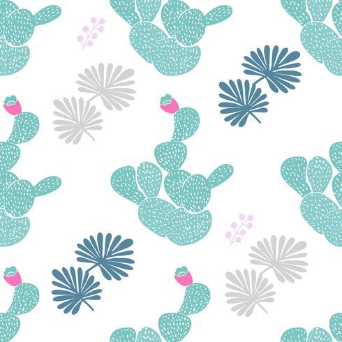 Modèle sans couture décoratif dessiné de main avec des cactus. dans le style scandinave. Design tropical tendance pour textile vecteur