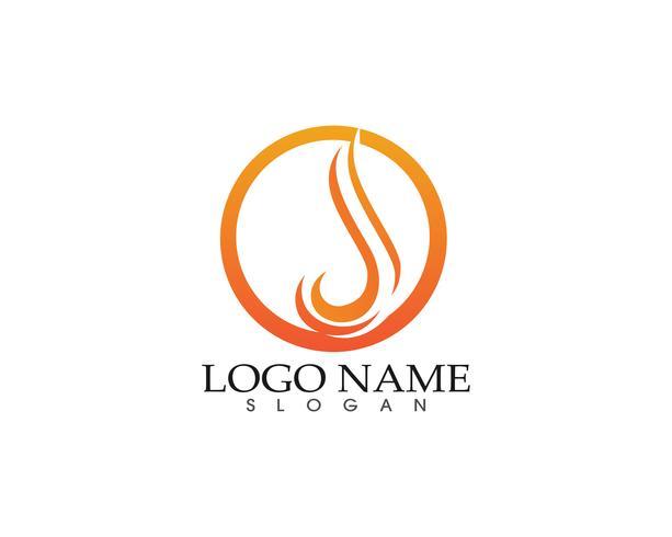 Modèle d'icônes symboles flamme feu nature logo vecteur