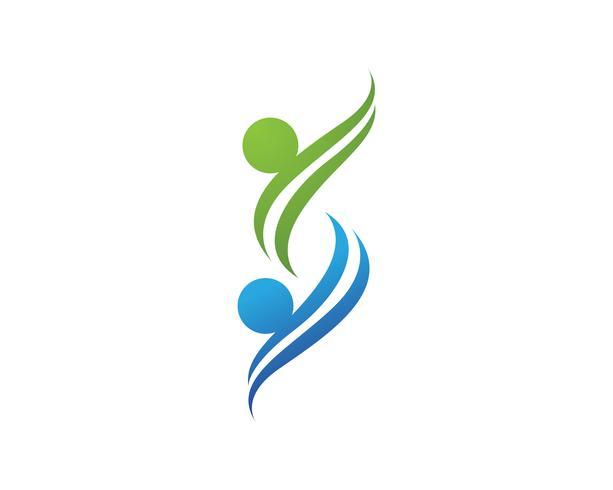 modèle de logo et symboles d'amour de soins familiaux vecteur