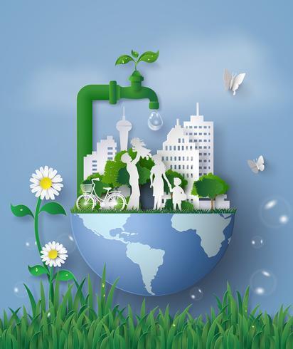 concept de journée de l'eau écologique et mondiale en famille vecteur
