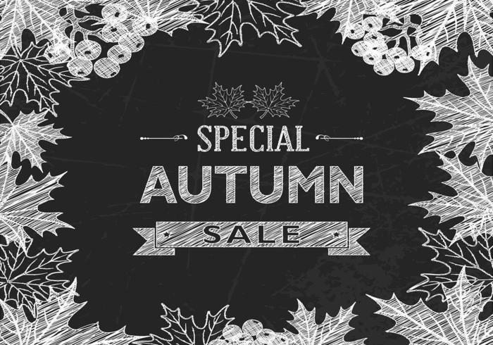 Fond de vecteur vente vente automne craie dessiné