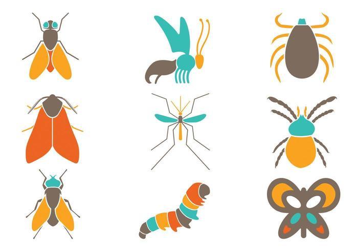 Pack de vecteur d'insectes colorés