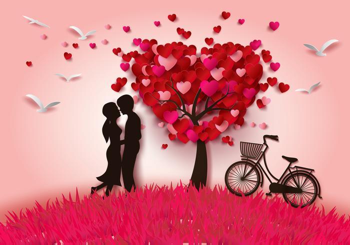 Deux amoureux sous un arbre d'amour vecteur