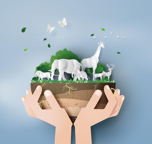 Journée mondiale de la vie sauvage vecteur