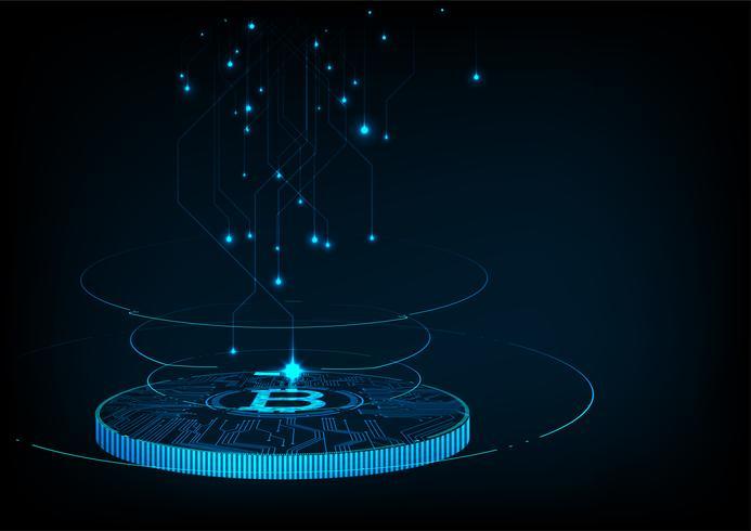 Abstrait monnaie numérique futuriste avec monnaie numérique logo bitcoin. vecteur