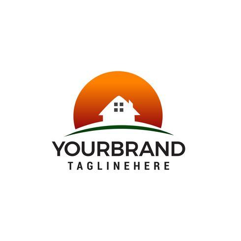 maison soleil logo design concept template vecteur