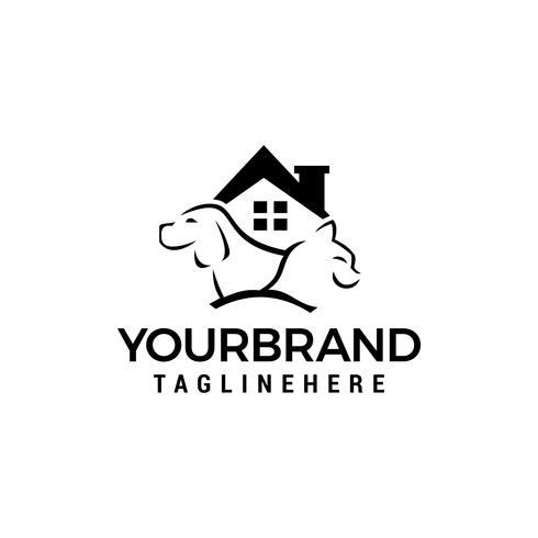 chien chat maison logo Template vector icon design