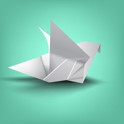 sagesse sur pliage de papier oiseau vecteur