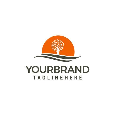 arbre soleil Modèle de vecteur de conception Logo