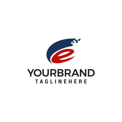 Logo de la lettre E. concept de design de logo de style tech vecteur