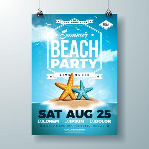 Vector Summer Party Flyer Design avec étoile de mer et île tropicale sur fond bleu de l'océan. Modèle de conception célébration de vacances d'été