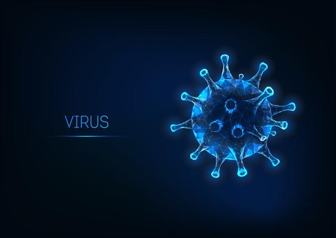 Cellule de virus de la grippe futuriste isolée sur fond bleu foncé vecteur
