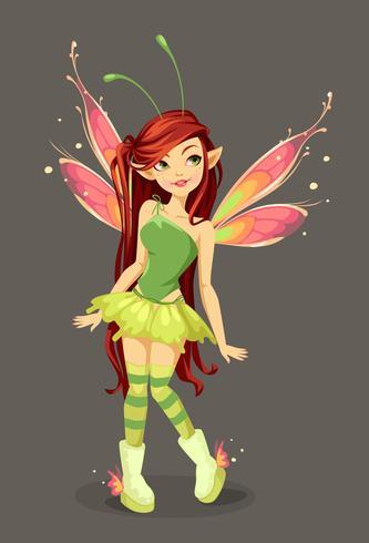 Papillon, fée, debout vecteur