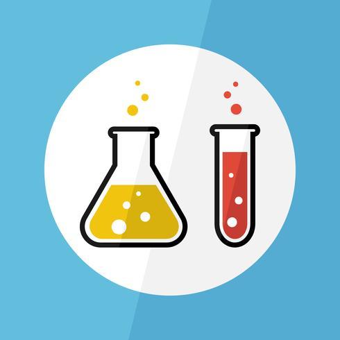 La substance chimique dans le flacon et le tube à essai. Design plat. Concept scientifique vecteur