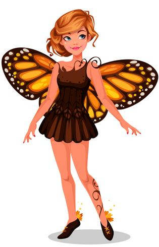 Belle fée papillon monarque vecteur