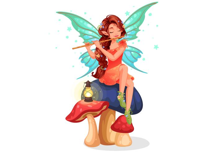 Belle fée jouant de la flûte vecteur