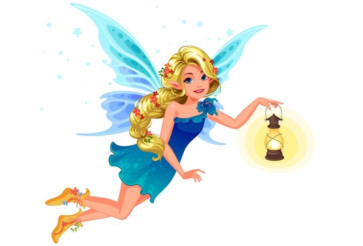 Belle fée blonde aile bleue vecteur