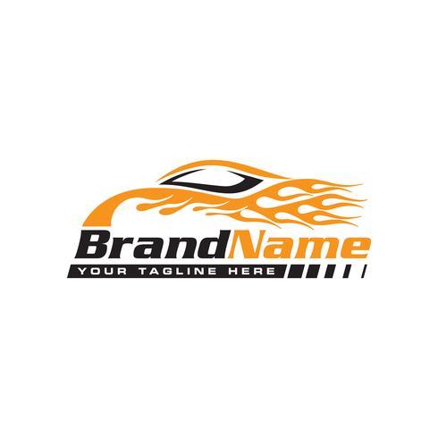 Voiture de vitesse automobile avec logo flamme vecteur