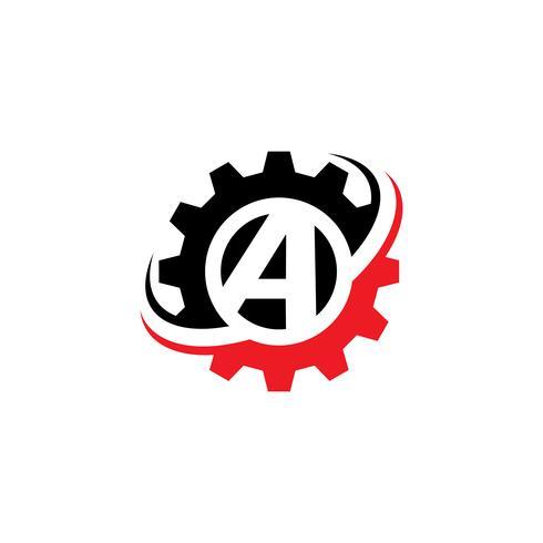 Modèle de conception de logo lettre A Gear vecteur