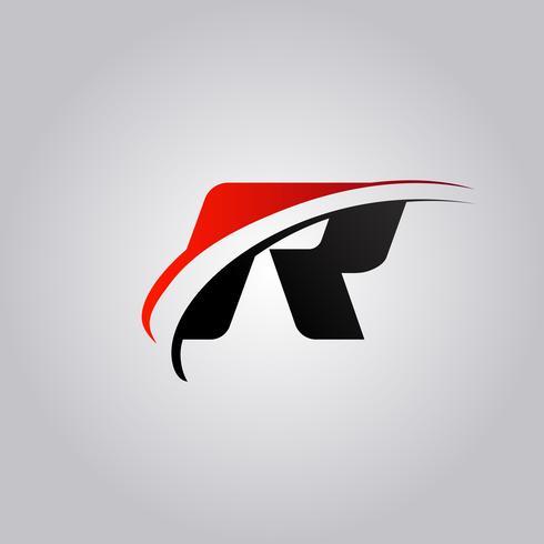 initiales logo R Letter avec swoosh de couleur rouge et noir vecteur