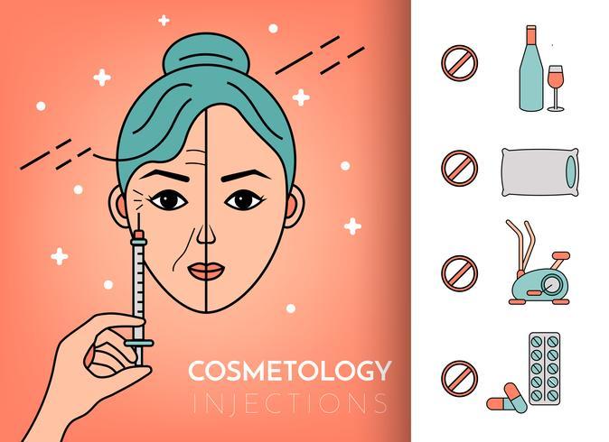 Injections cosmétiques. Infographie vecteur