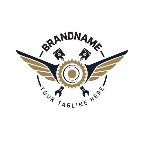 emblème auto engrenage avec ailes et illustration vectorielle outil vecteur