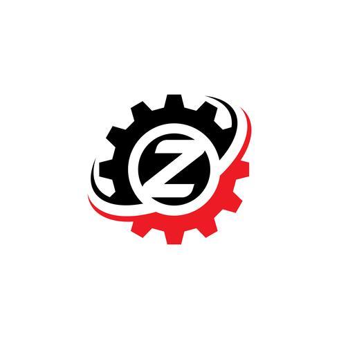 Modèle de conception de logo lettre Z engrenage vecteur