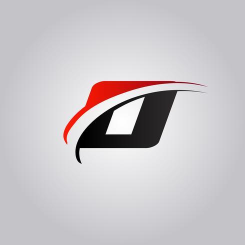 initiales logo O Letter avec swoosh de couleur rouge et noir vecteur