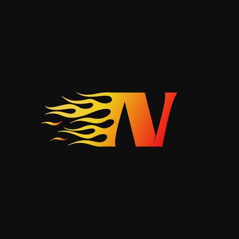 lettre N modèle de conception de logo flamme brûlante vecteur